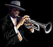 Trumpet player. Vector illustration of a trumpet player stock illustration