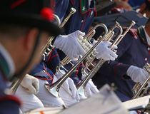 Trumpet players in the band during a performance Stock Images