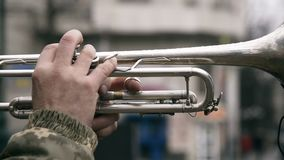Trumpet playing street musician. Trumpet playing street musician with military camouflage coat stock video