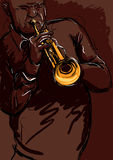 Trumpet playng. Old man playng trumpet vector image Royalty Free Stock Image
