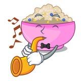 With trumpet porridge breakfast in cartoon dining table. Vector illustration stock illustration
