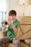 Trumpet practice at home Stock Image