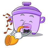 With trumpet rice cooker character cartoon. Vector illustration Stock Image
