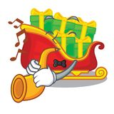 With trumpet Santa sleigh with christmas character gifts vector illustration