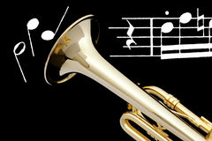 Trumpet and sheet of music. Royalty Free Stock Photography
