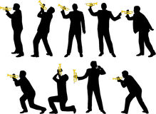 Trumpet silhouettes Royalty Free Stock Images