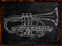 Trumpet sketch on blackboard Stock Photos