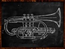 Trumpet sketch on blackboard. Music background Stock Photos