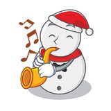 With trumpet snowman character cartoon style Royalty Free Stock Photos