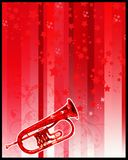 Trumpet and stars. Trumpet with stars- perfect for musical events or party flyer Stock Photo