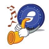 With trumpet Status coin mascot cartoon. Vector illustration Royalty Free Stock Photos