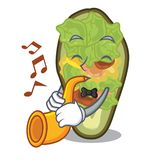 With trumpet stuffed avocado on a character board. Vector illustration royalty free illustration