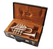 Trumpet in suitcase Royalty Free Stock Image