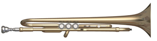 Trumpet top side. Isolated trumpet on a white background stock illustration