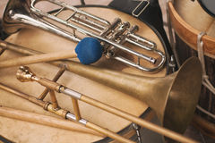 Trumpet, trombone and Bass drum stock photography