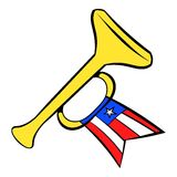 Trumpet with USA flag icon cartoon Royalty Free Stock Image