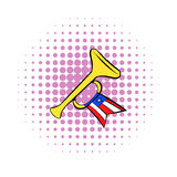 Trumpet with USA flag icon, comics style Stock Photo