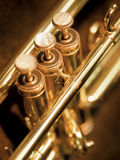 Trumpet valves. A shallow depth-of-field image of the valves of a trumpet