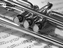 Trumpet valves black & white Stock Photography