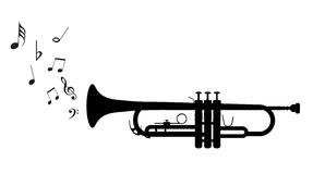 Trumpet. Vector outline of a trumpet. EPS-10 Stock Photo