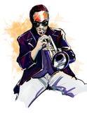 trumpet w тона саксофона игрока фокуса перста b голубой Стоковые Фото