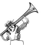 Trumpet on white background Royalty Free Stock Photos