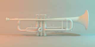 Trumpet on a white background 3d illustration. Royalty Free Stock Photography