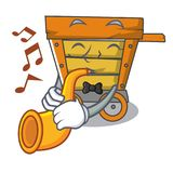 With trumpet wooden trolley mascot cartoon. Vector illustration royalty free illustration