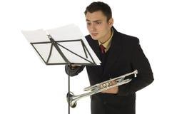 trumpetare för musikark Royaltyfri Fotografi