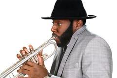 Trumpetare i en hatt Arkivbilder