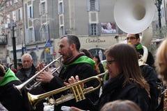 Trumpetare under karneval av Limoux Royaltyfri Foto