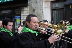 Trumpetare under karneval av Limoux Royaltyfri Bild