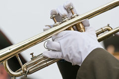 Trumpeter. A trumpeter of military brass band Royalty Free Stock Photo