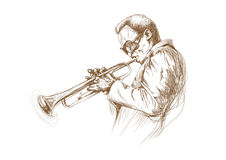 Trumpeter. Hand drawing picture. Jazz theme with trumpeter -  best player Royalty Free Stock Image