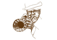 Trumpeter. Hand drawing picture. Jazz theme with trumpeter -  best player Royalty Free Stock Images