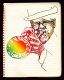 Trumpeter. Hand drawing picture. Jazz theme with trumpeter -  best player Royalty Free Stock Photography