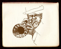 Trumpeter. Hand-painted picture, digital painting in shades of brown - jazz man playing the trumpet Royalty Free Stock Images