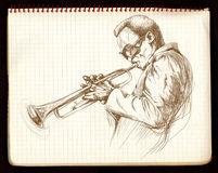 Trumpeter. Hand-painted picture, digital painting in shades of brown - jazz man playing the trumpet Stock Images