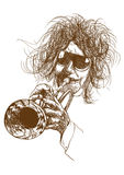 Trumpeter. Full-sized (original) hand drawing (useful for converting live trace for the  image - and others). Technique: digital tablet. Number of colors Royalty Free Stock Image