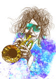 Trumpeter. Full-sized (original) hand drawing (useful for converting live trace for the  image - and others). Technique: digital tablet. Number of colors Royalty Free Stock Photography