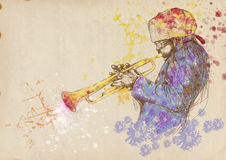 Trumpeter. Full-sized (original) hand drawing (useful for converting live trace for the  image - and others). Technique: digital tablet. Number of colors Stock Image