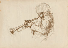 Trumpeter. Full-sized (original) hand drawing (useful for converting live trace for the  image - and others). Technique: digital tablet. Number of colors Stock Photo