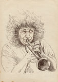 Trumpeter. Full-sized (original) hand drawing (useful for converting live trace for the  image - and others). Technique: digital tablet. Number of colors Stock Photography