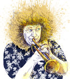 Trumpeter. Full-sized (original) hand drawing (useful for converting live trace for the  image - and others). Technique: digital tablet. Number of colors Royalty Free Stock Photo