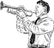 Trumpeter. Vector  image of a man playing the trumpet Stock Image