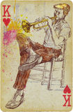 Trumpeter. Mixed media - a hand drawn illustration with trumpet player in front of playing card Royalty Free Stock Photo