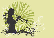 Trumpeter. Illustration of a woman playing trumpet Royalty Free Stock Images