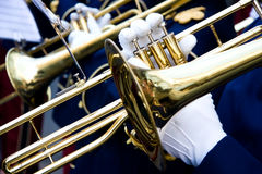 Trumpeter. A trumpeter plays in a music band, closeup Stock Image