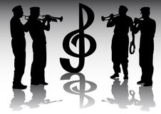 Trumpeter. Vector drawing musicians with trumpets. Isolated silhouettes on white background Royalty Free Stock Photo