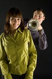 Trumpeter And Beauty Royalty Free Stock Photography